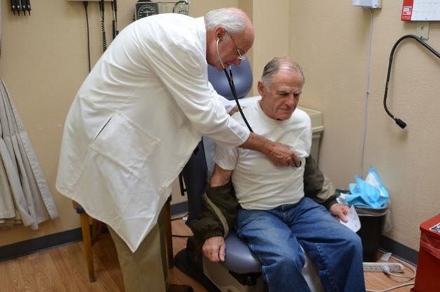 Charles Condelos, a retired banker, regularly goes to the Santa Barbara Neighborhood Clinics for his primary care and to renew his prescription for back pain medication. He says Dr. Charles Fenzi, who was treating him that day at the Westside Clinic, and Dr. Susan Lawton are some of the best people he's ever met.