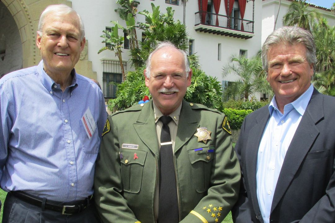 "From left, Special Olympics Leadership Council member Gary Cunningham; Santa Barbara County sheriff's Lt. Ugo ""Butch"" Arnoldi; and speaker Bill Pintard, manager of the Santa Barbara Foresters, at the seventh annual Inspire Greatness Luncheon."