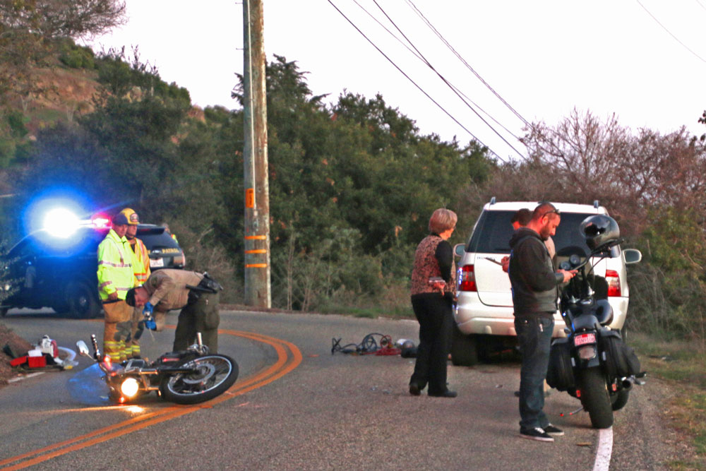 A 53-year-old Santa Barbara motorcyclist was killed Sunday afternoon in a collision with an SUV on Foothill Road, near Toro Canyon Road, in the Carpinteria Valley.