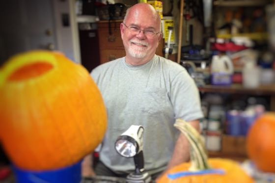 Jim Eby loved his job as chief of operations at Valencia Technologies, but also was known for his elaborate Halloween pumpkins. (Eby family photo)