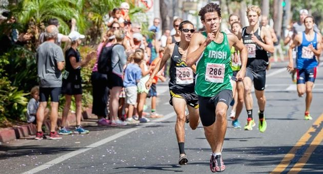 <p>Gabriel Hilbert races to first place in the men's division of Sunday's 15th Platinum Performance State Street Mile.</p>