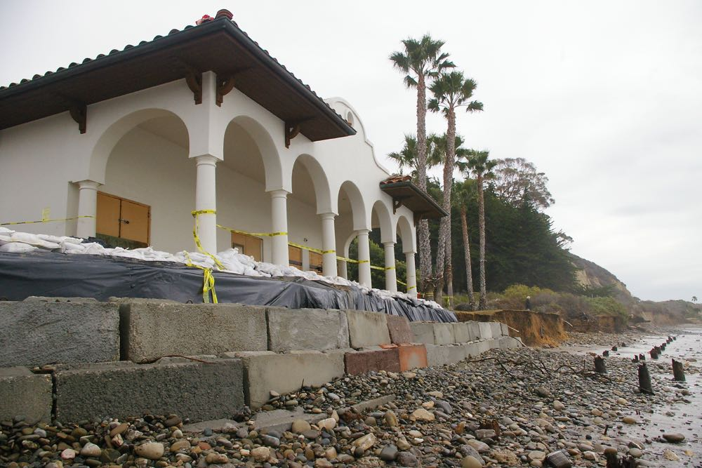 Winter storm tides took their toll at Haskell's Beach in western Goleta, leaving the Beach House vulnerable to structural damage. Plans are afoot to tear down the building below Bacara Resort & Spa and rebuild it elsewhere.