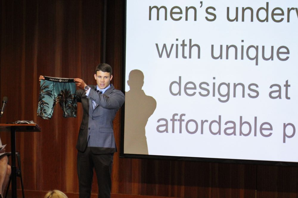Santa Barbara City College student Thomas Lundgard won the SBCC Scheinfeld Center's New Venture Challenge on Friday with his Meraki Surf line of men's underwear.