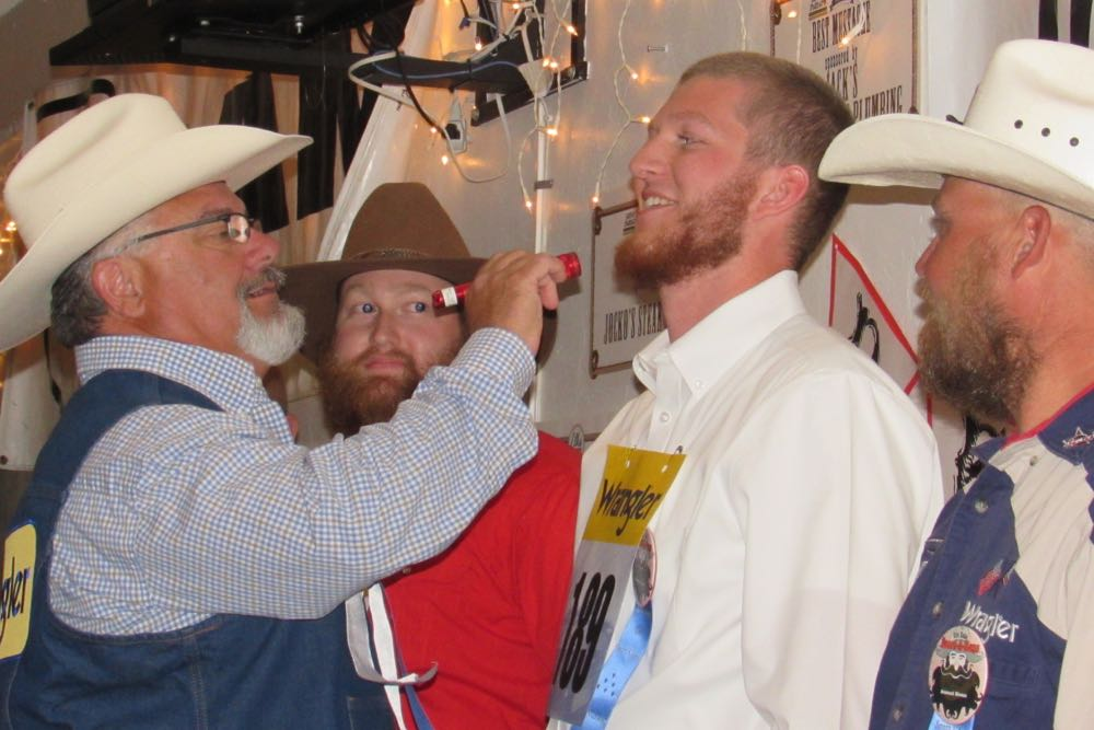 A judge for the Santa Maria Elks Rodeo Beard-A-Reno contest checks the whiskers of Josh Carcarey, 21, the eventual winner of the reddest beard category Saturday night.