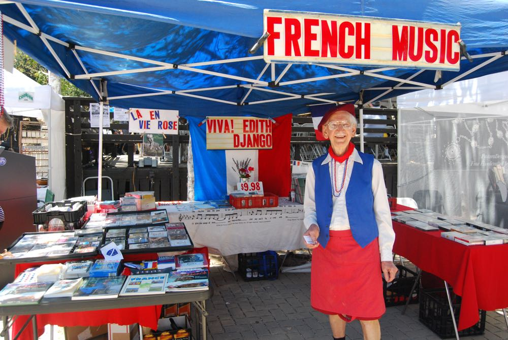 John Filcich, owner of Festival Records, sold French CDs, vinyl and tapes at his booth.