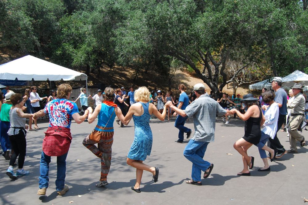 Those attending Santa Barbara's 43rd Annual Greek Festival learned traditional Greek dances performed in a semi-circle.