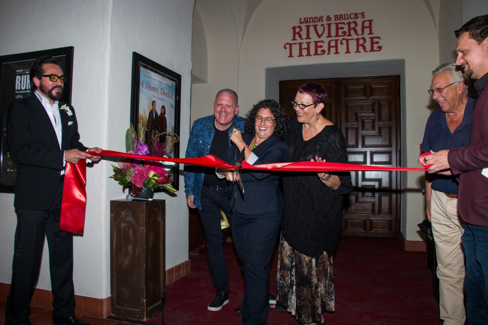 The newly renovated Riviera Theatre was officially opened last week with a ribbon-cutting ceremony that included, from left, Santa Barbara International Film Festival executive director Roger Durling, benefactor Bruce Heavin, Mayor Helene Schneider, SBIFF board president and benefactor Lynda Weinman, and City Councilman Frank Hotchkiss.