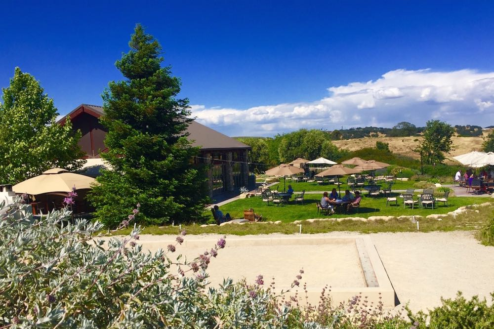 """Lloyd's Lookout"" at Calcareous Vineyard is a delightful place to take in the winery's spectacular views and delicious wine and food pairings."