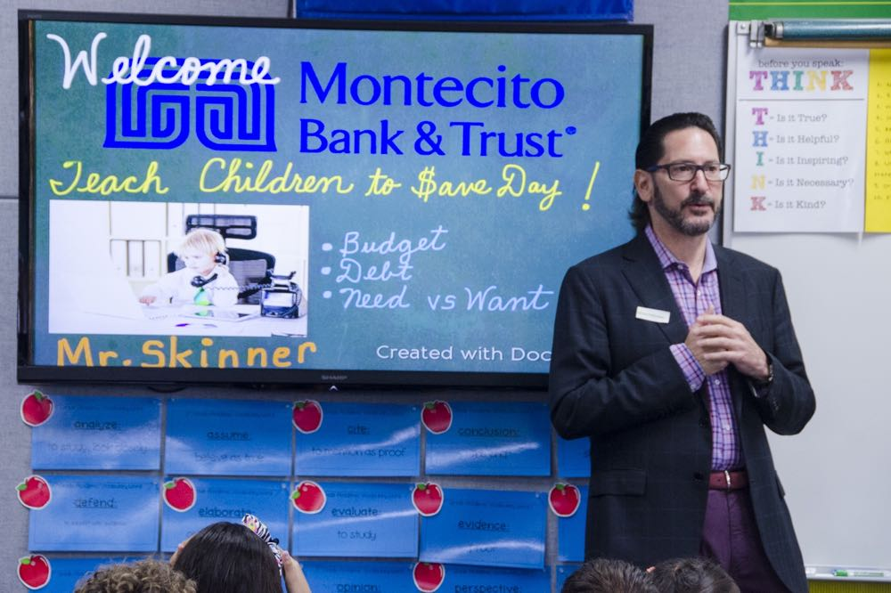 Montecito Bank & Trust chief innovation officer and general counsel Rob Skinner was among the bank volunteers visiting Ellwood School in Goleta as part of National Teach Children to Save Day.