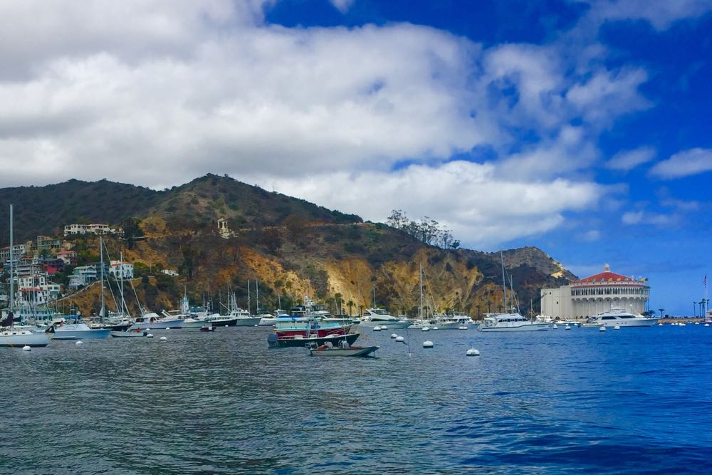 The landmark Catalina Casino is the focal point of Avalon Bay on Catalina Island.