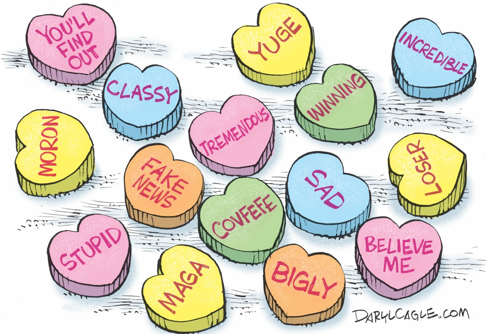 Daryl Cagle Valentines Day Candy Is Dandy For Donald Trump