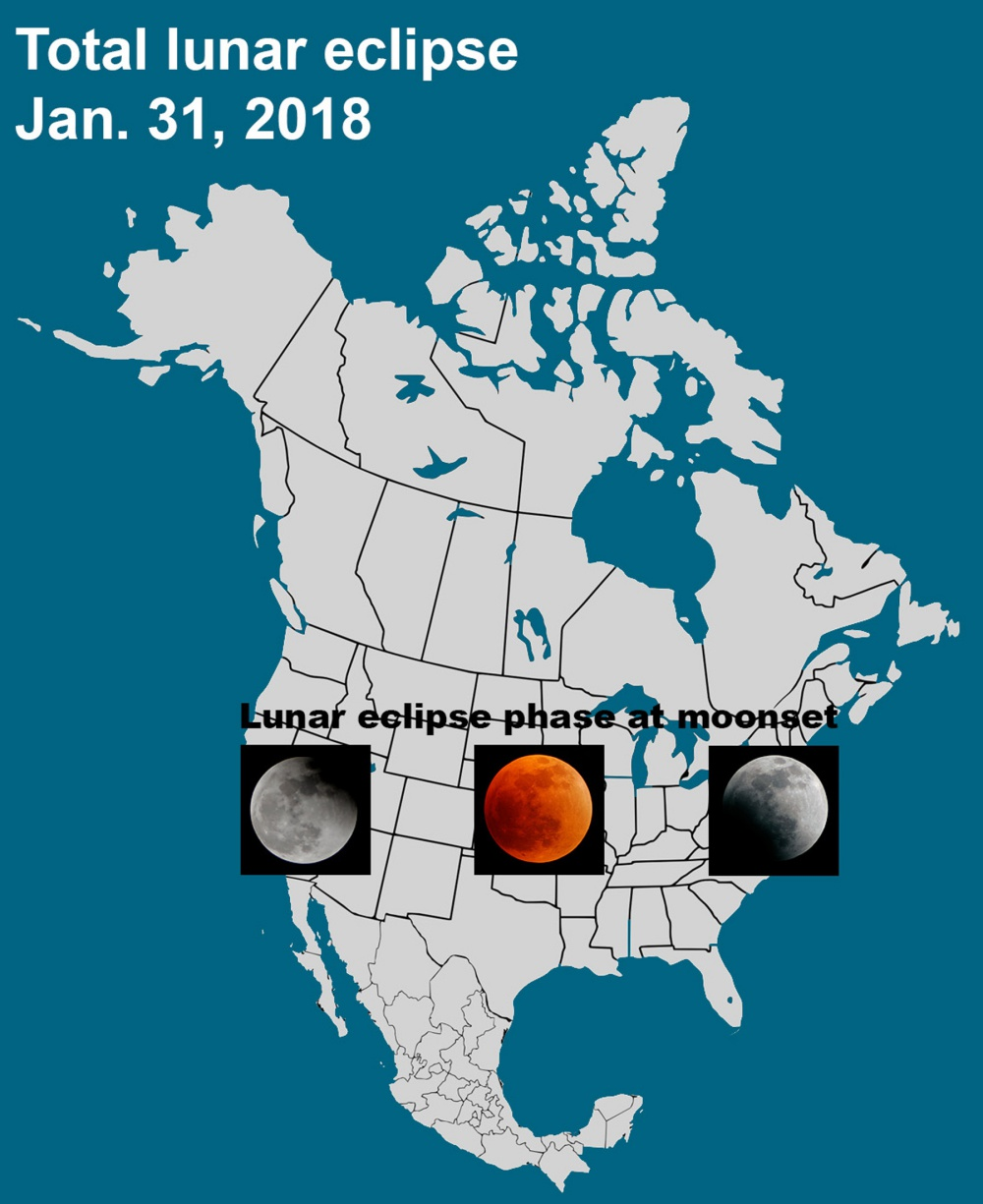 January 31 Lunar Eclipse Map.Dennis Mammana Shadow On The Moon Begins To Emerge Outdoors