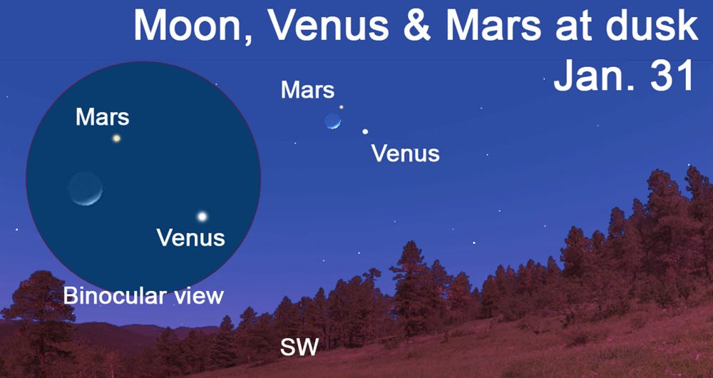 View the moon, Venus and Mars at dusk this week.