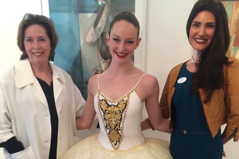 From left, The Gallery Montecito manager and curator Cia Nervo, dancer Sarah Block and Arts Mentorship Program board president Pamela Dillman Haskell.