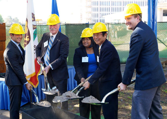 <p>From left, Jonathan Abboud, president of UCSB&#8217;s Associated Students; Gene Lucas, executive vice chancellor; Denise Stephens, librarian; Henry Yang, chancellor; and Gary Haddow, president of the Graduate Students Association, shovel dirt to celebrate the groundbreaking for the expansion of the UC Santa Barbara library.</p>