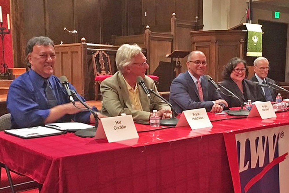 The five candidates for mayor of Santa Barbara appeared at a forum Monday night hosted by the League of Women Voters. From left are Hal Conklin, Frank Hotchkiss, Angel Martinez, Cathy Murillo and Harwood 'Bendy' White.