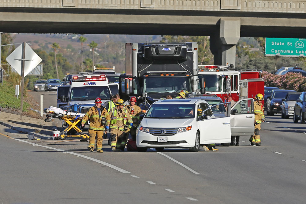 Five people were injured in a three-vehicle collision on southbound Highway 101 in Santa Barbara Monday morning.
