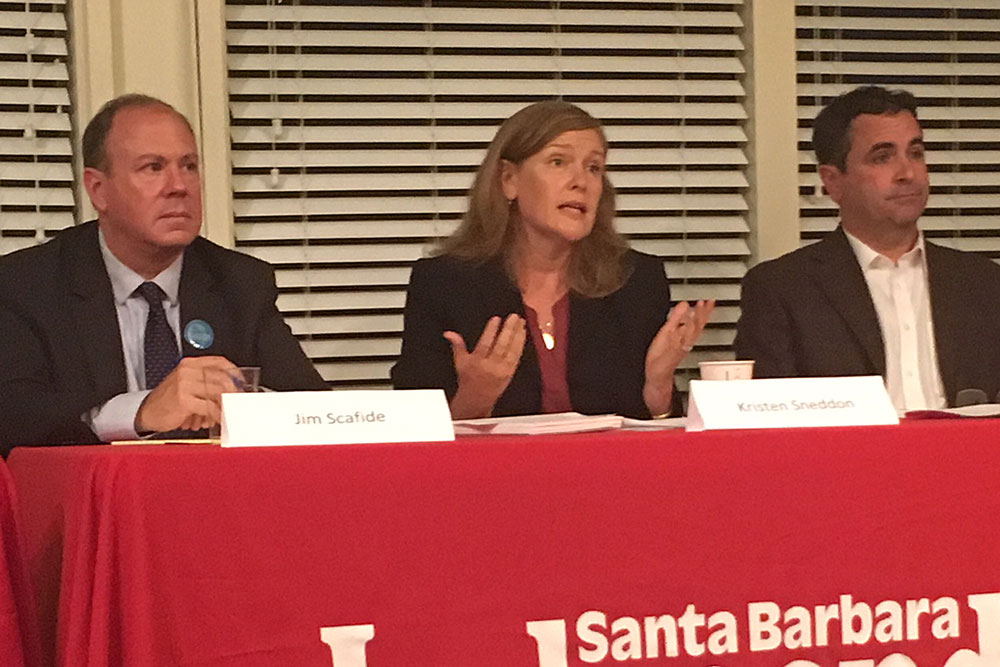 The three District 4 Santa Barbara City Council candidates participated in a forum Tuesday night, less than a week before the city mails out ballots to voters. From left are Jim Scafide, Kristen Sneddon and Jay Higgins.