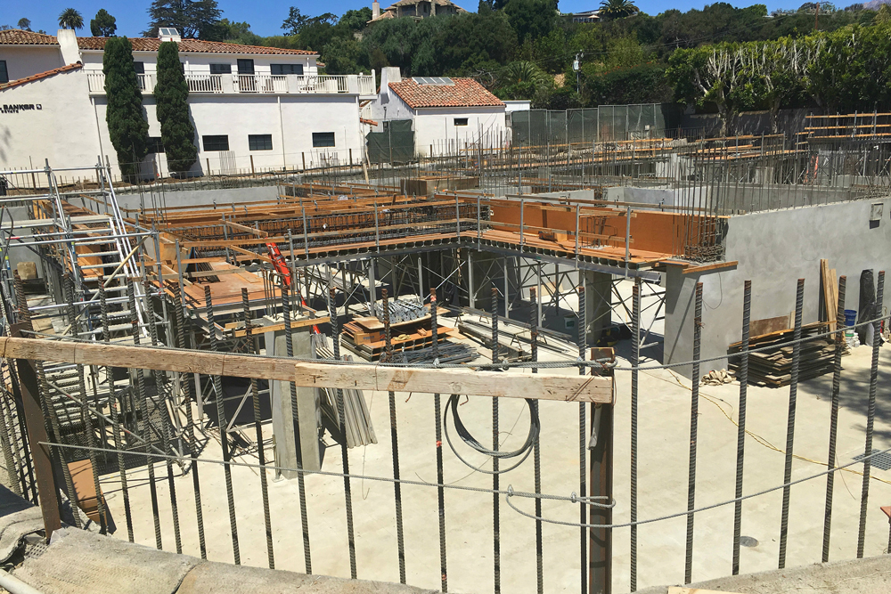 The Santa Barbara City Council voted Tuesday to approve a height change to the mixed-use project on Coast Village Road. The project, shown here during construction in June, will include commercial space and residential units.