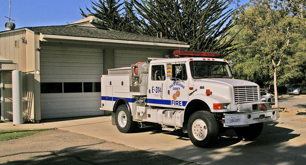 <p>A brush truck stands ready Friday afternoon outside Santa Barbara County Fire Department Station 14 in Goleta. A red flag warning for fire danger is in effect from 7 p.m. Friday until 6 p.m. Sunday.</p>