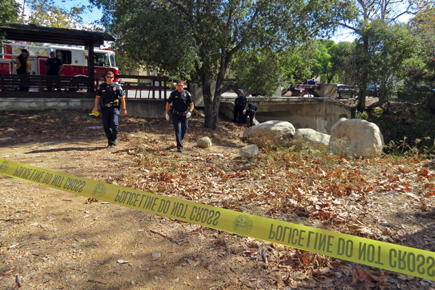 Santa Barbara police investigate after a man's body was found Monday morning in a creek bed off State Street.