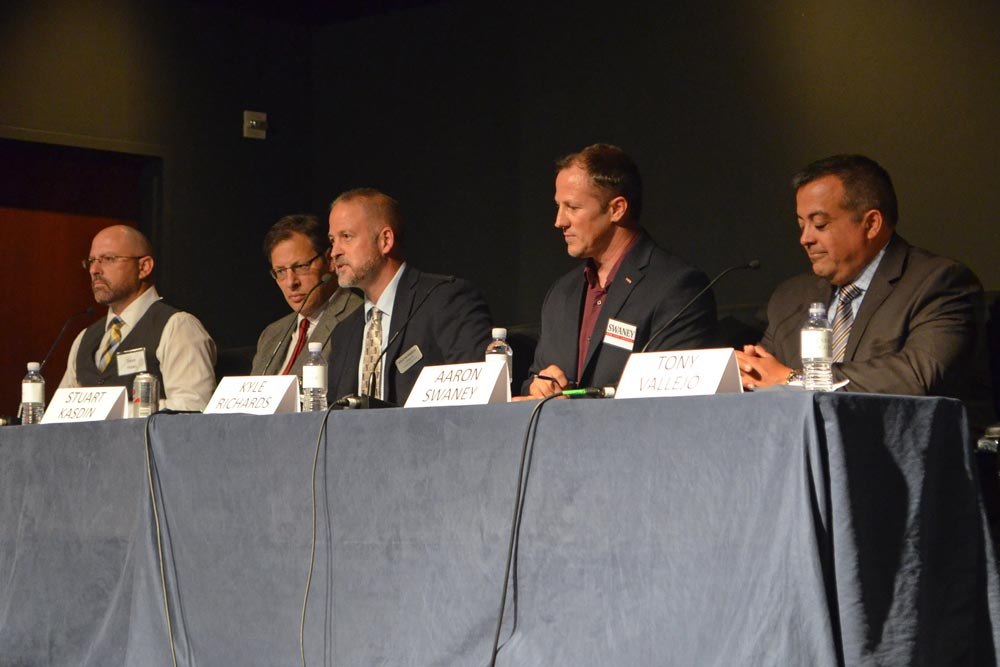 The five candidates running for Goleta City Council include, from left: Dave Haws, Stuart Kasdin, Kyle Richards, Aaron Swaney and Tony Vallejo.