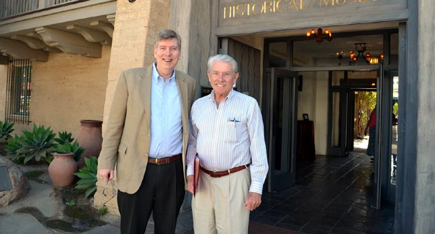 <p>NBC News investigative reporter Bill Dedman, left, and Paul Clark Newell Jr., cousin of heiress Huguette Clark, prepare to deliver a talk Monday at the Santa Barbara Historical Museum. Dedman and Newell co-wrote the bestselling book &#8220;Empty Mansions: The Mysterious Life of Huguette Clark and the Spending of a Great American Fortune.&#8221;</p>
