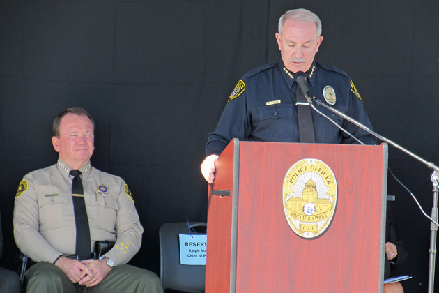 Chief Ralph Martin presides over the dedication ceremony for the new Santa Maria Police Station. At left is Los Angeles County Sheriff Jim McDonnell who provided the keynote speech during the ceremony.