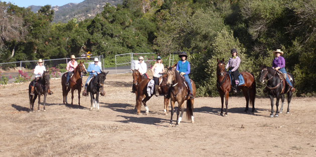 Guests saddle up their horses during the early morning hours to take to the local trails maintained by the Montecito Trails Foundation.