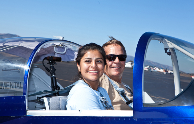 Genesis Sarmiento from A Different Point of View prepares for takeoff with pilot Bruce in his RV experimental aircraft. (Lynn Houston photo / A Different Point of View)