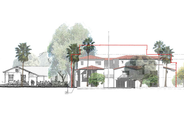 An artist's rendition shows a proposed mixed-use project at 800 Santa Barbara St. in downtown Santa Barbara.