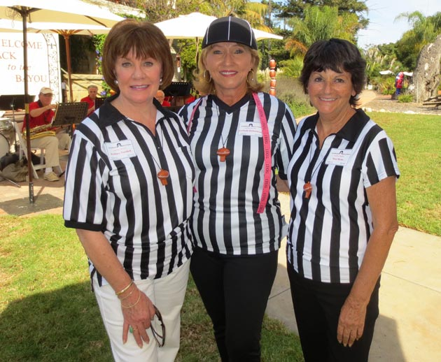 Santa Barbara Rescue Mission Auxiliary members Sydney Tredick, left, Verlinda Richardson and Suzi Ryan get into the umpire spirit for the football-themed 'Downfield on the Bayou' benefit event for the Santa Barbara Rescue Mission. (Rochelle Rose / Noozhawk photo)