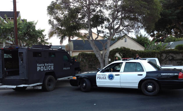Santa Barbara police deployed an armored Bearcat vehicle at a home in the 1200 block of Punta Gorda Street during Wednesday's gang sweep after an earlier investigation revealed a possible connection to firearms. (Santa Barbara Police Department photo)