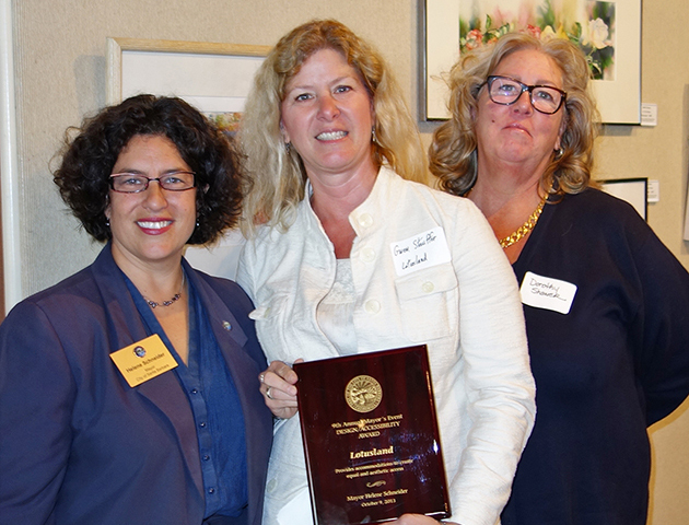 <p>Santa Barbara Mayor Helene Schneider, left, presents the Mayor's Award for Design and Accessibility to Ganna Walska Lotusland Executive Director Gwen Stauffer and Dorothy Shaner, director of public programs.</p>