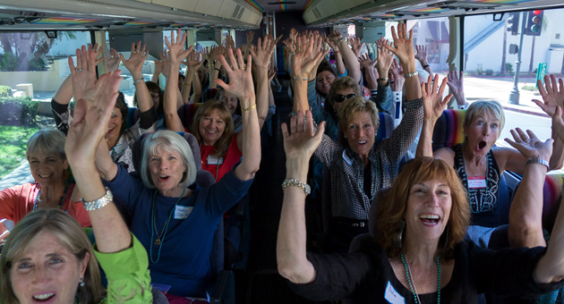 Members of the Women's Fund board Santa Barbara Airbus on their way to visit nonprofit grant recipients. (Women's Fund of Santa Barbara photo)
