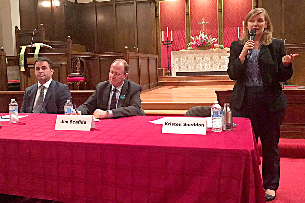 Candidates for the District 4 seat on the Santa Barbara City Council debated issues including water, housing, a sales-tax initiative and the future of State Street at a forum Tuesday night. From left are Jay Higgins, Jim Scafide and Kristen Sneddon.