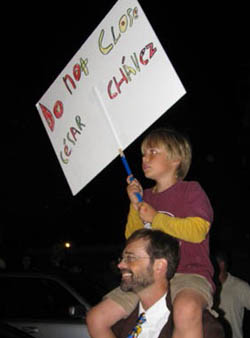 Many adults carried children on their shoulders so their signs could be read from farther away during Tuesday's march