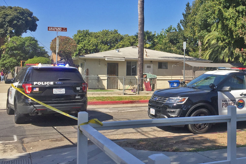 West Anapamu Street in Santa Barbara was blocked off Wednesday afternoon following a possibly fatal shooting.