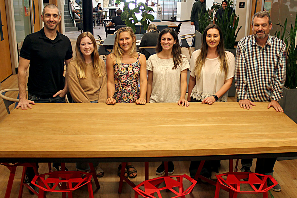 Members of Team Kiva include, from left, Michael Lewis, Julia Cavaletto, Kylie Wagner, Kristin Boehm, Kate Agnoli and Dan Ferrick.