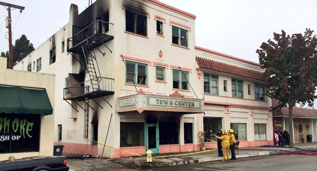 <p>Firefighters and arson investigators responded to a blaze at the Town Center Hotel in Santa Maria on Oct. 12, 2013, that injured several people and left many more homeless.</p>