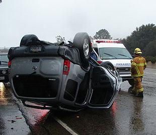 Authorities blamed speed and slick roads for a rollover accident on northbound Highway 101 north of the Arrellaga Street onramp Tuesday afternoon. There were no injuries.