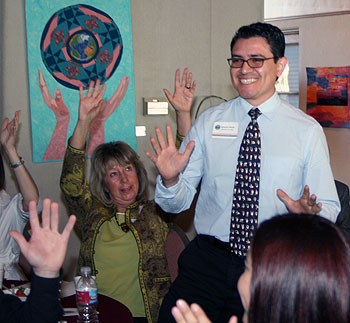 With a show of hands, SBCC American Sign Language instructor Ignacio Ponce gets a signed welcome.