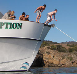 After a day of learning, some students spent their free time diving off the boat.