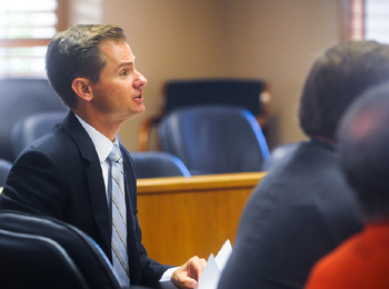 Prosecutor Ben Ladinig speaks in court Tuesday at the sentencing for Jeffrey Parish, who received the maximum possible time in the case — 10 years and eight months in prison. (Lara Cooper / Noozhawk photo)