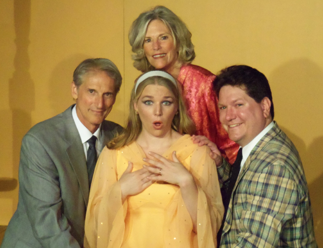 <p>Kathy Marden, top, Robert Demetriou, left, Leesa Beck and Christopher Lee Short star in Circle Bar B Dinner Theatre&#8217;s production of <i>Any Wednesday</i>, running through Nov. 4.</p>