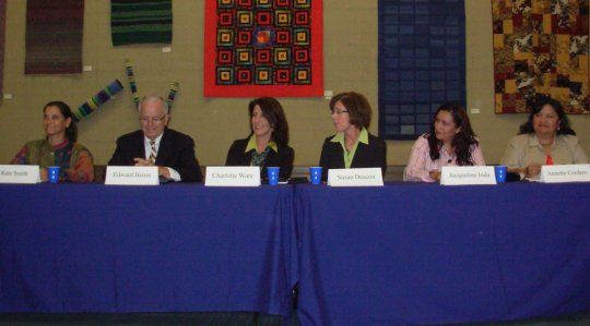 The six candidates for three open seats on the Santa Barbara school board participate in a debate Wednesday at the Santa Barbara Public Library.