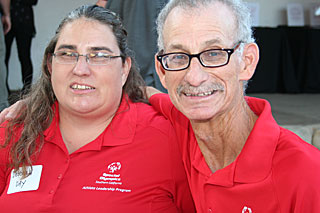 Local Special Olympics athletes Deborah Day and Steve Glick at last year's Fired Up for Special Olympics fundraiser.