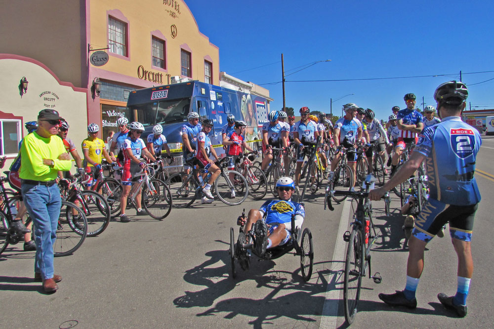 Wounded veterans stopped for lunch in Old Town Orcutt on Thursday as the Ride 2 Recovery made its way through Santa Barbara County.