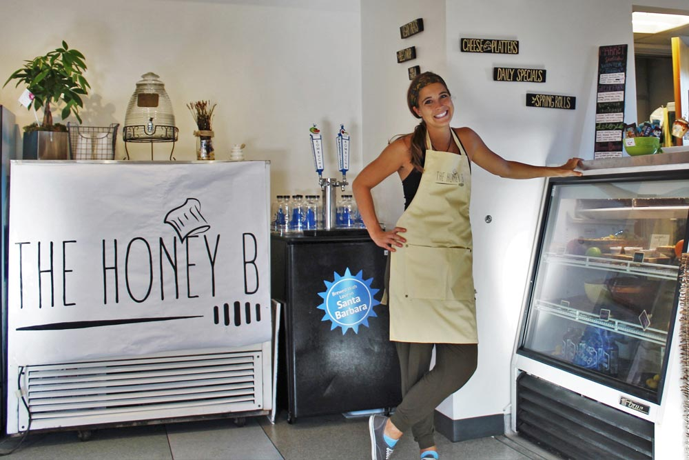 Katie Belanger opened The Honey B atop Antioch University, where she sells waffle sandwiches and baked goods.