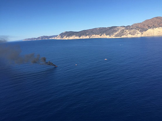 A 36-foot boat caught fire and sank between Anacapa and Santa Cruz Islands Wednesday, according to the Ventura County Fire Department.